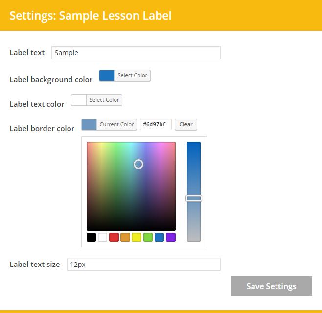 customize label settings